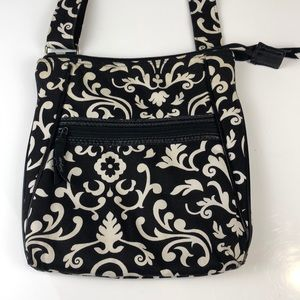Thirty-One Black and White Print Crossbody Bag